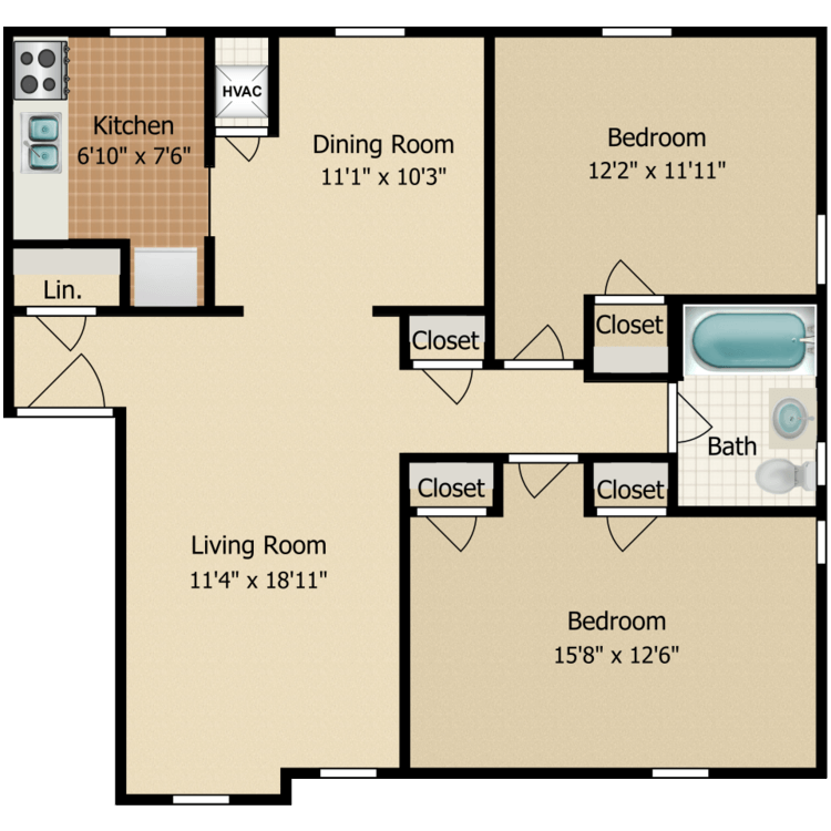 Floor plan image of Two Bedroom Deluxe