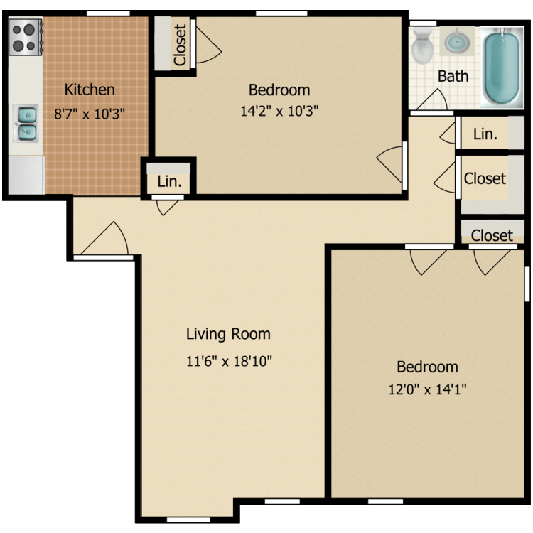 Floor plan image of Two Bedroom