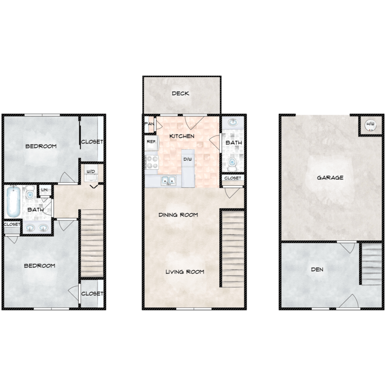 Floor plan image of A Building 2 Bed 1.5 Bath