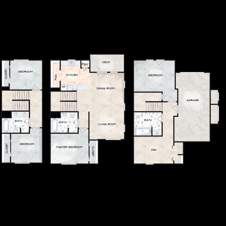 Floor plan image of A Building 4 Bed 3 Bath