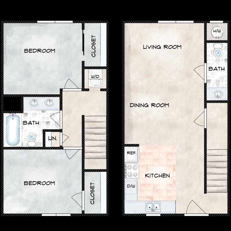 Floor plan image of G Building 2 Bed 1.5 Bath