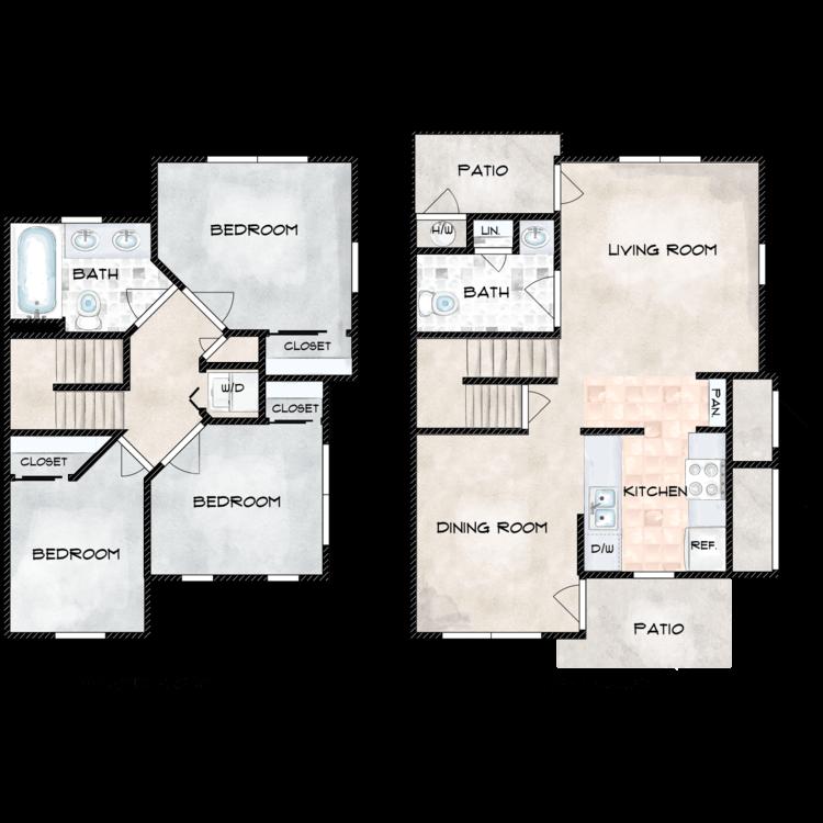 Floor plan image of G Building 3 Bed 1.5 Bath
