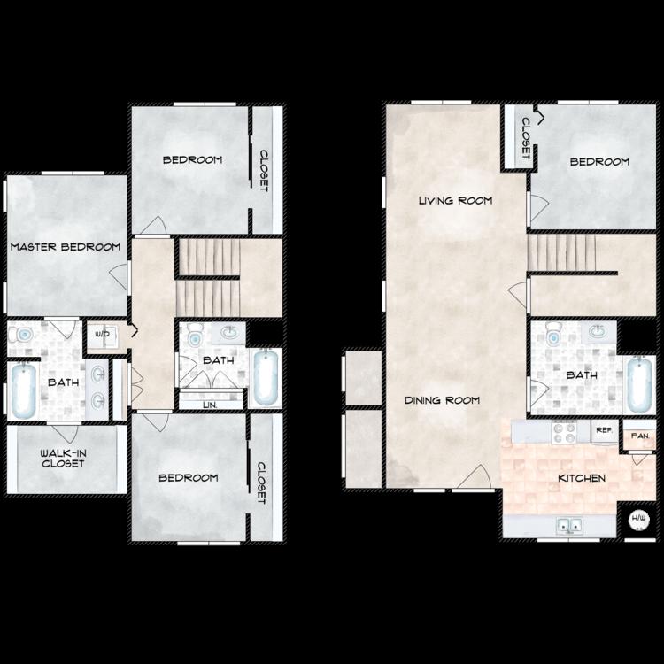 Floor plan image of G Building 4 Bed 3 Bath