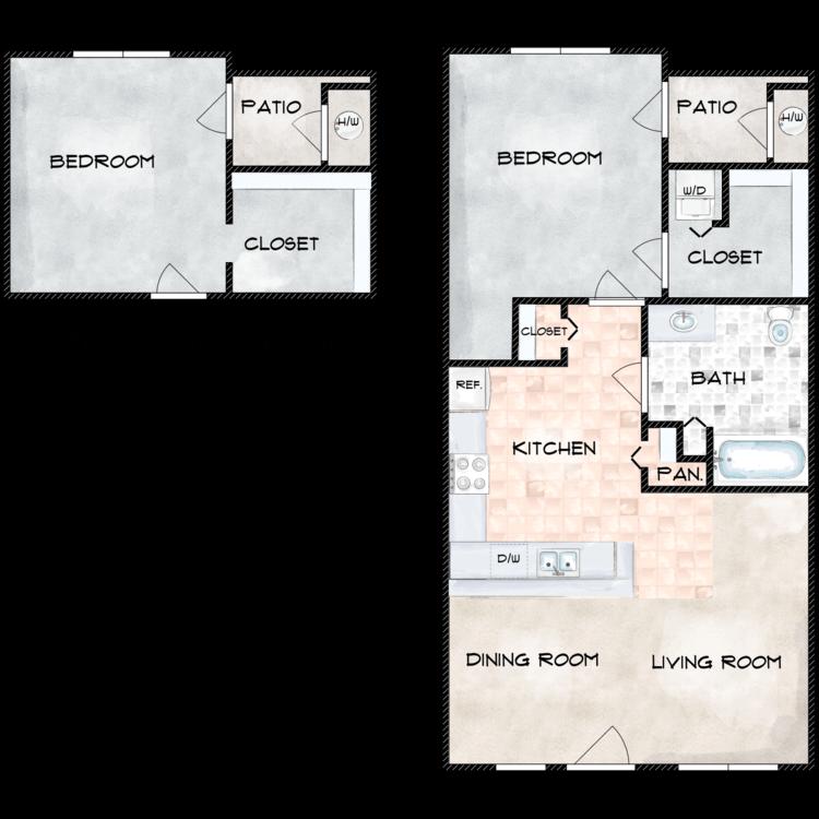 Floor plan image of H Building 1 Bed 1 Bath