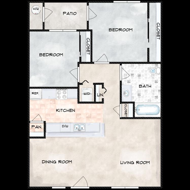 Floor plan image of H Building 2 Bed 1 Bath