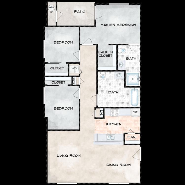 Floor plan image of H Building 3 Bed 2 Bath