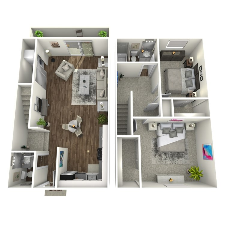 Floor plan image of 2x1.5 Townhome