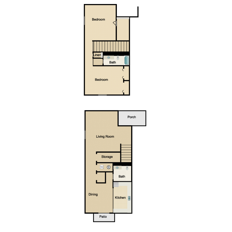 Floor plan image of 2 Bed 1.5 Bath Townhome