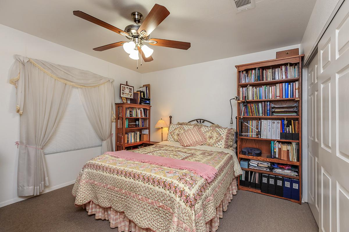 a bedroom with a bed and a book shelf