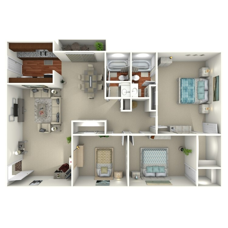 Floor plan image of 3 Bed 2 Bath - 3A