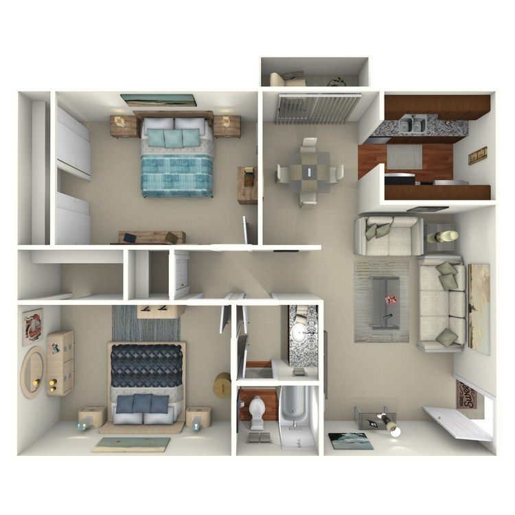 Floor plan image of 2 Bed 1 Bath - 2D