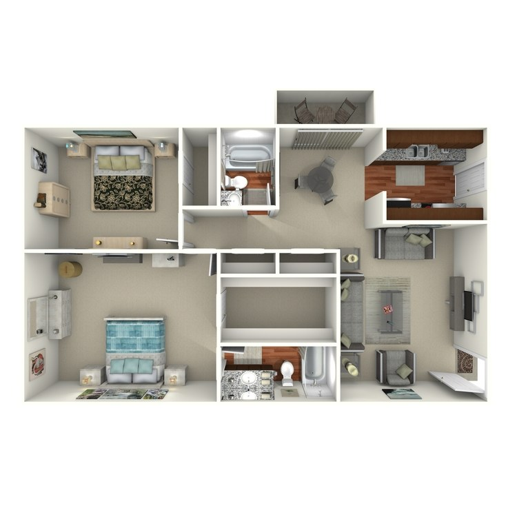 Floor plan image of 2 Bed 2 Bath - 2G