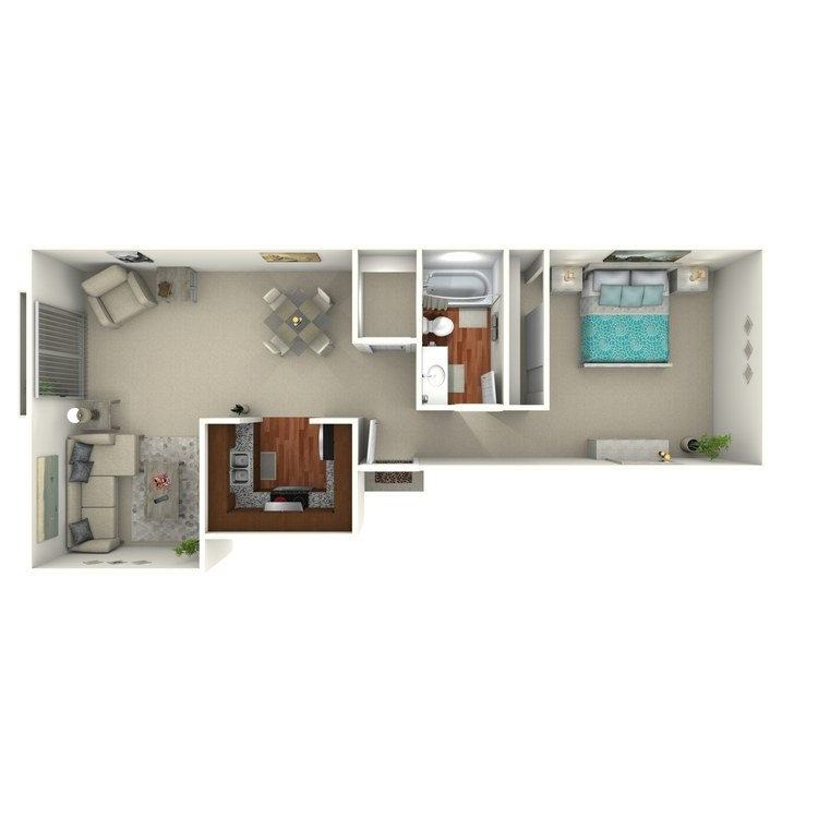 Floor plan image of 1 Bed 1 Bath - 1B2