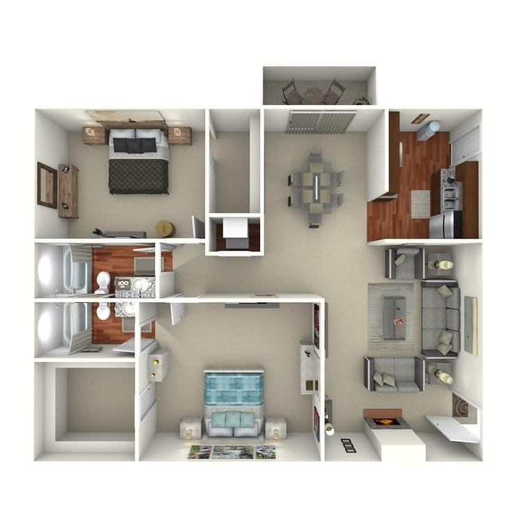 Floor plan image of 2 Bed 2 Bath Cottage - 22C