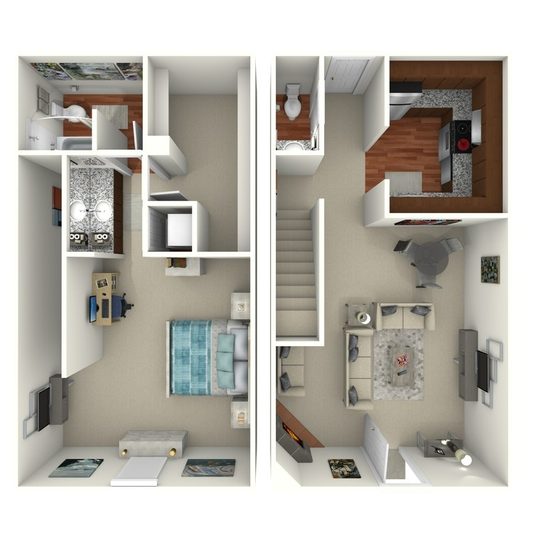 Floor plan image of 1 Bed 1.5 Bath - 1E