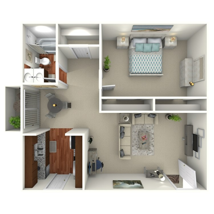 Floor plan image of 1 Bed 1 Bath - 1B