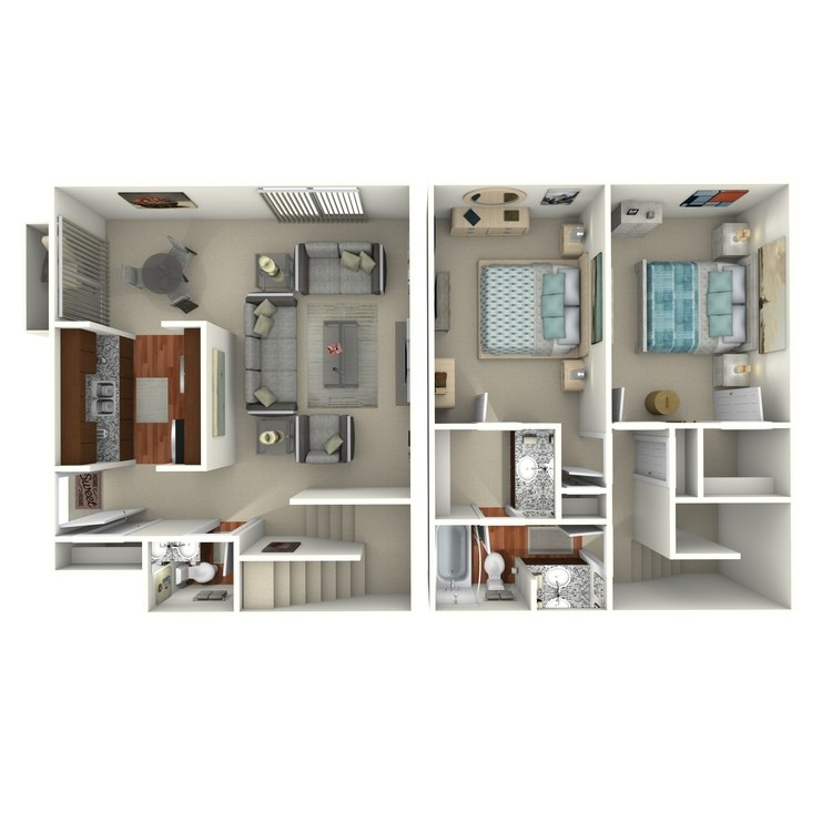 Floor plan image of 2 Bed 1.5 Bath - 2A