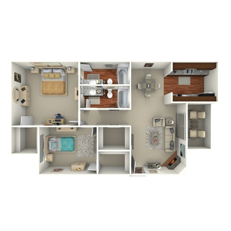 Floor plan image of 2 Bed 2 Bath - 2F