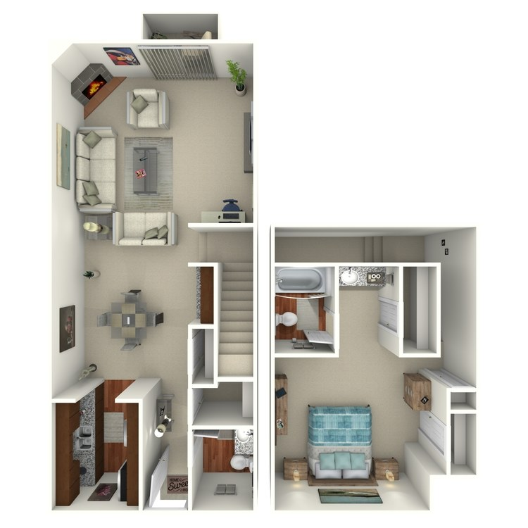 Floor plan image of 1 Bed 1.5 Bath - 1F