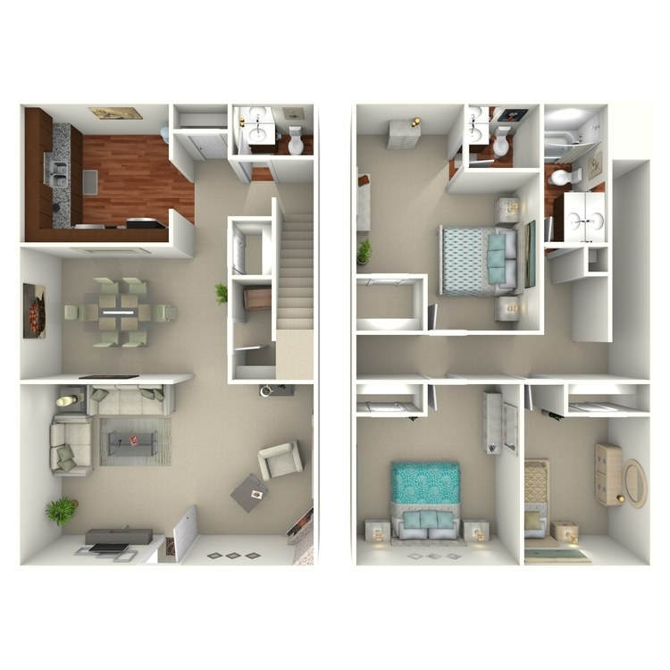 Floor plan image of 3 Bed 2.5 Bath - 32H