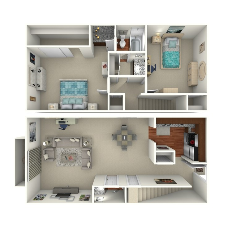 Floor plan image of 2 Bed 1.5 Bath - 2B