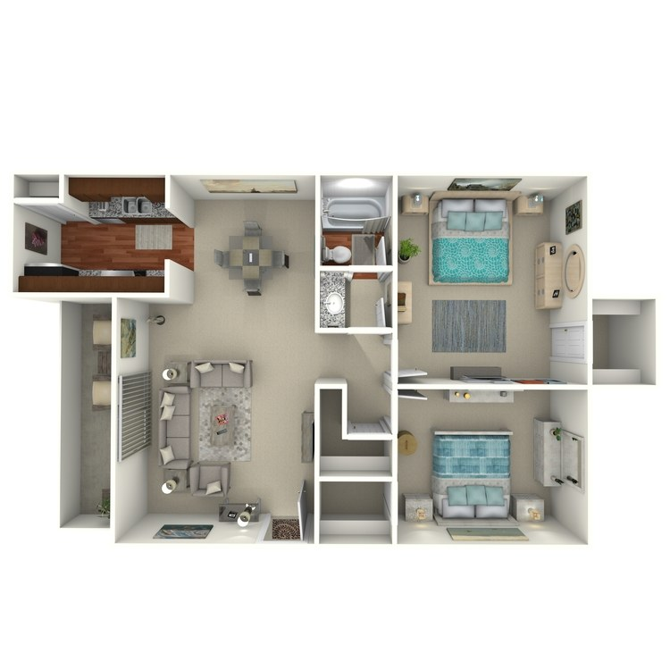 Floor plan image of 2 Bed 1 Bath - 2E