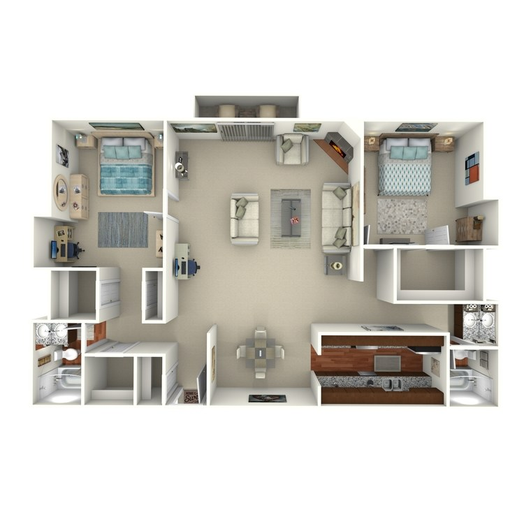 Floor plan image of 2 Bed 2 Bath - 2I