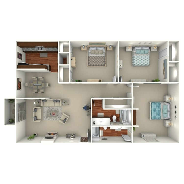 Floor plan image of 3 Bed 2 Bath - 3C
