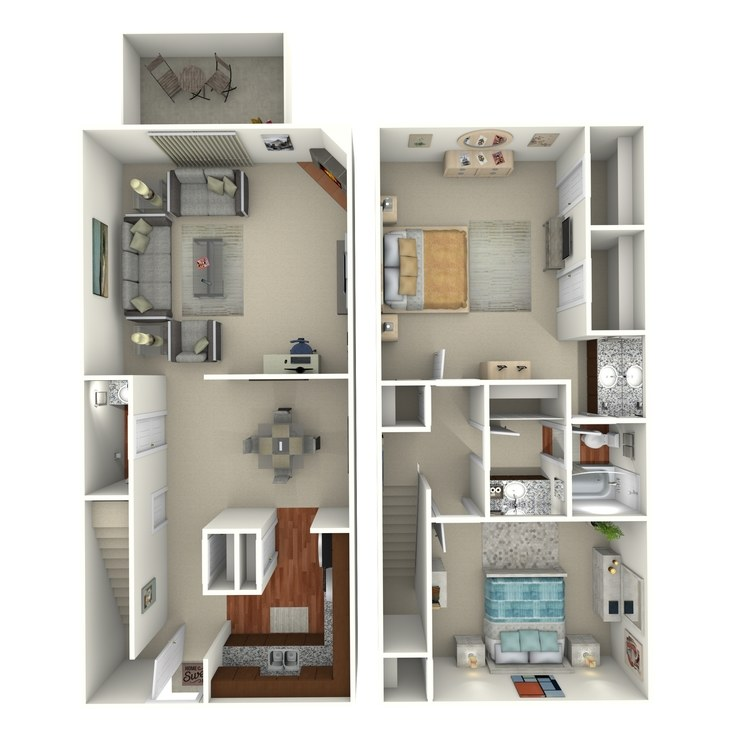 Floor plan image of 2 Bed 1.5 Bath - 2C