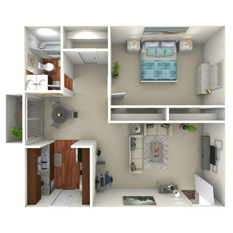 Floor plan image of 1 Bed 1 Bath -1C