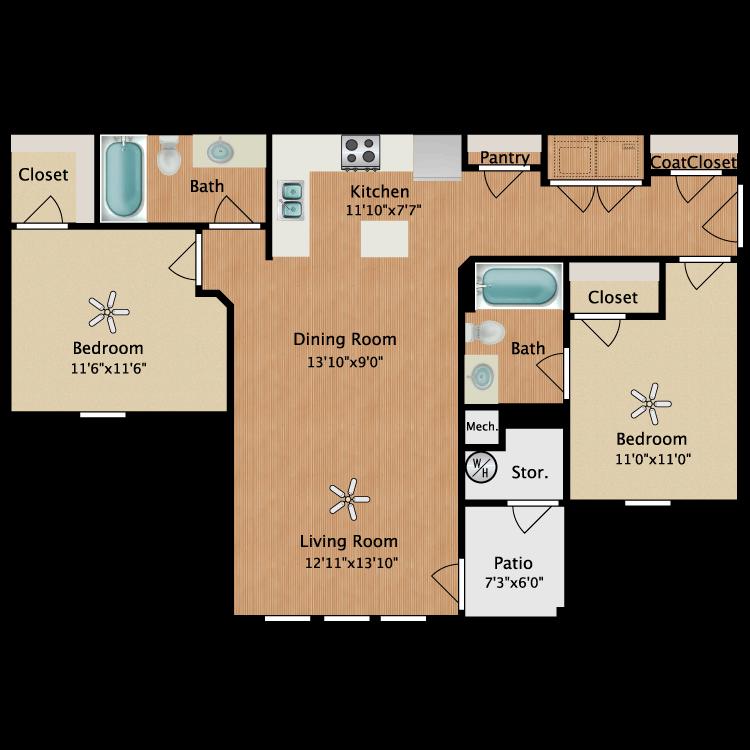 Floor plan image of Unit B 2 Bed 2 Bath