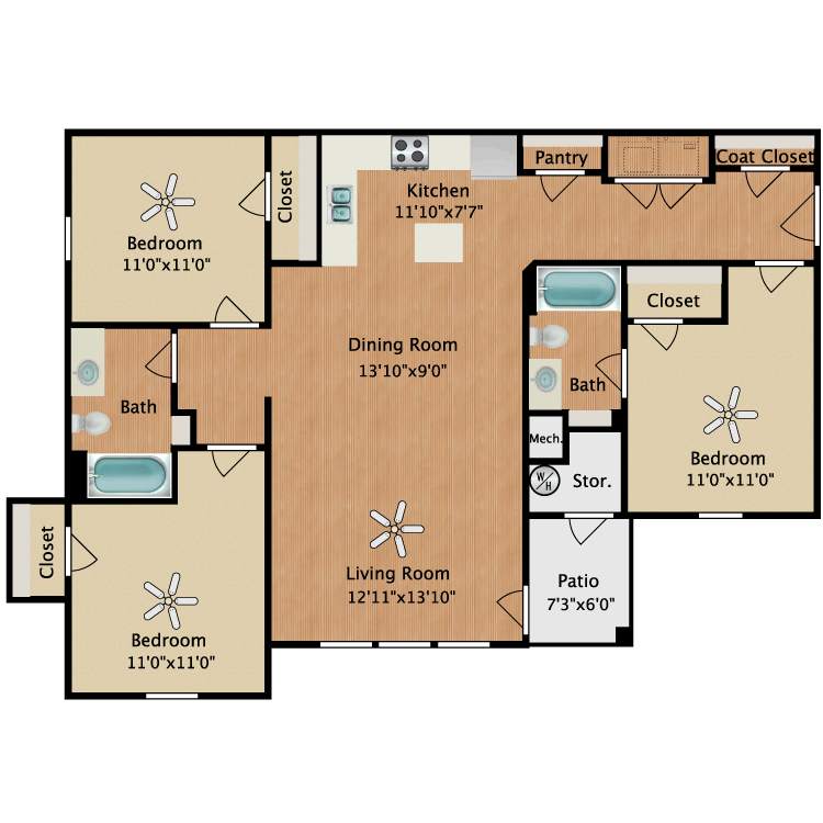 Floor plan image of Unit C 3 Bed 2 Bath