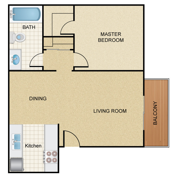 Floor plan image of Deluxe 1 Bed