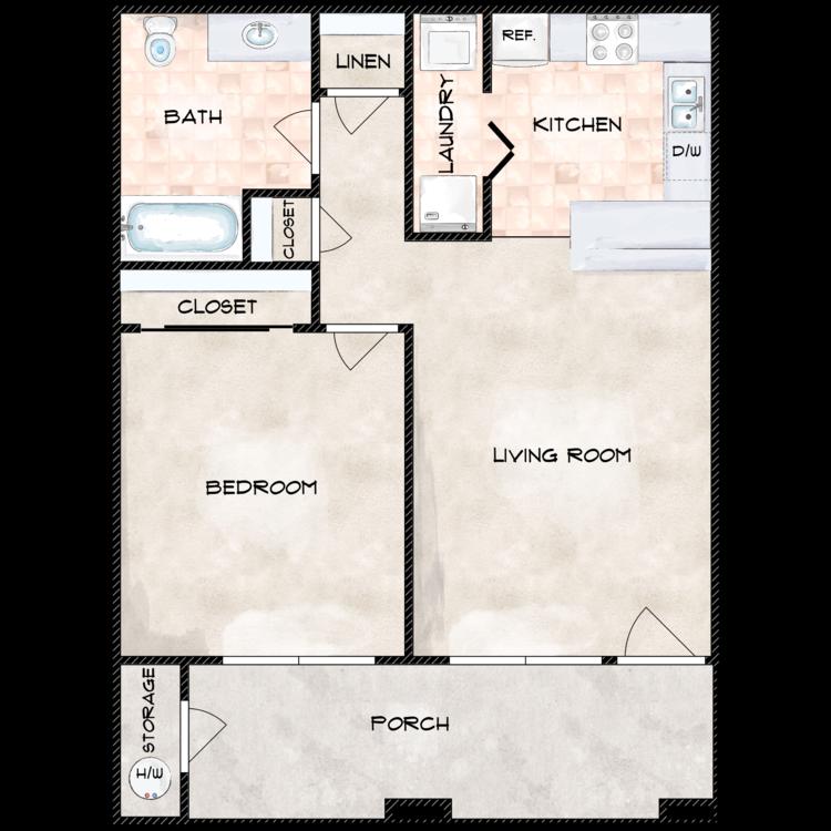 Floor plan image of One Bedroom One Bathroom