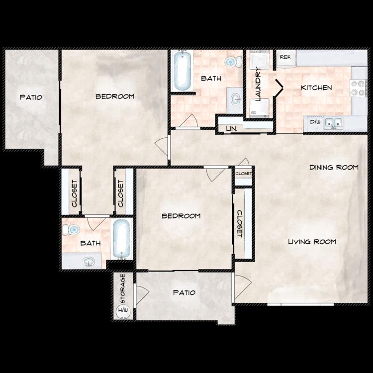 Floor plan image of Two Bedroom  Two Bathrooms
