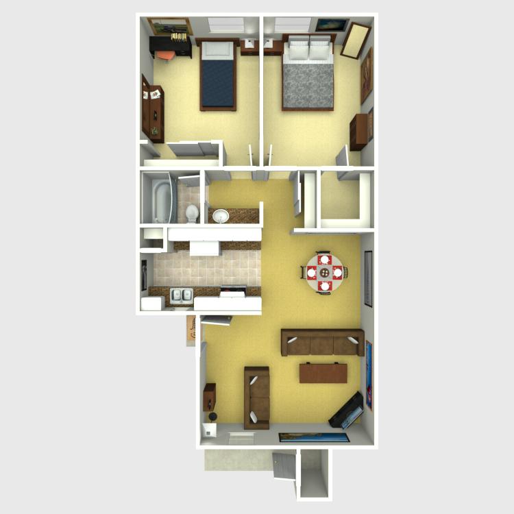 Floor plan image of 2 Bed 1 Bath B