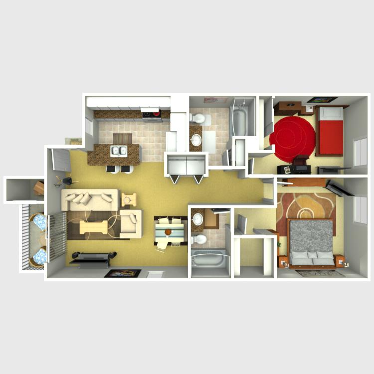 Floor plan image of Unit A2 - 2 Bed 2 Bath