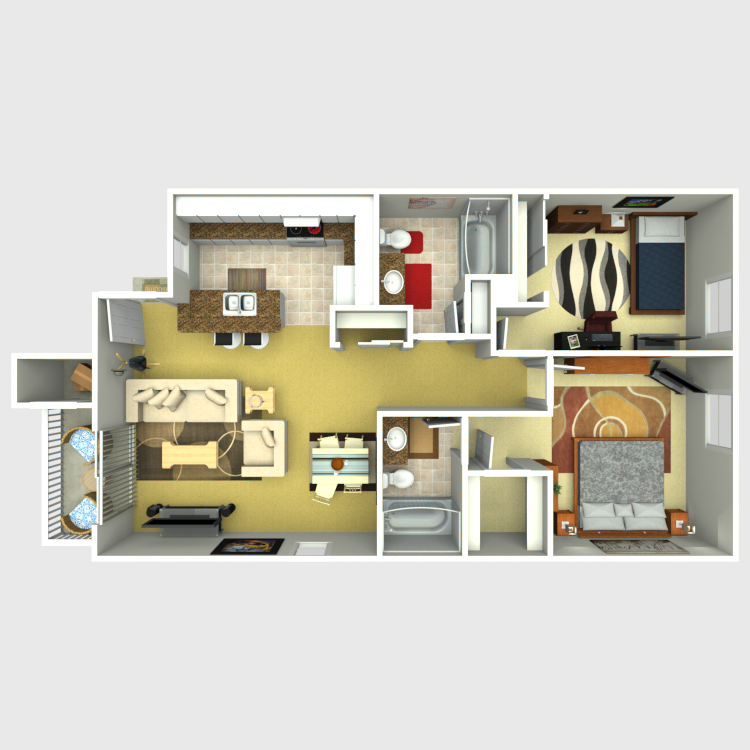 Floor plan image of Unit A - 2 Bed 2 Bath