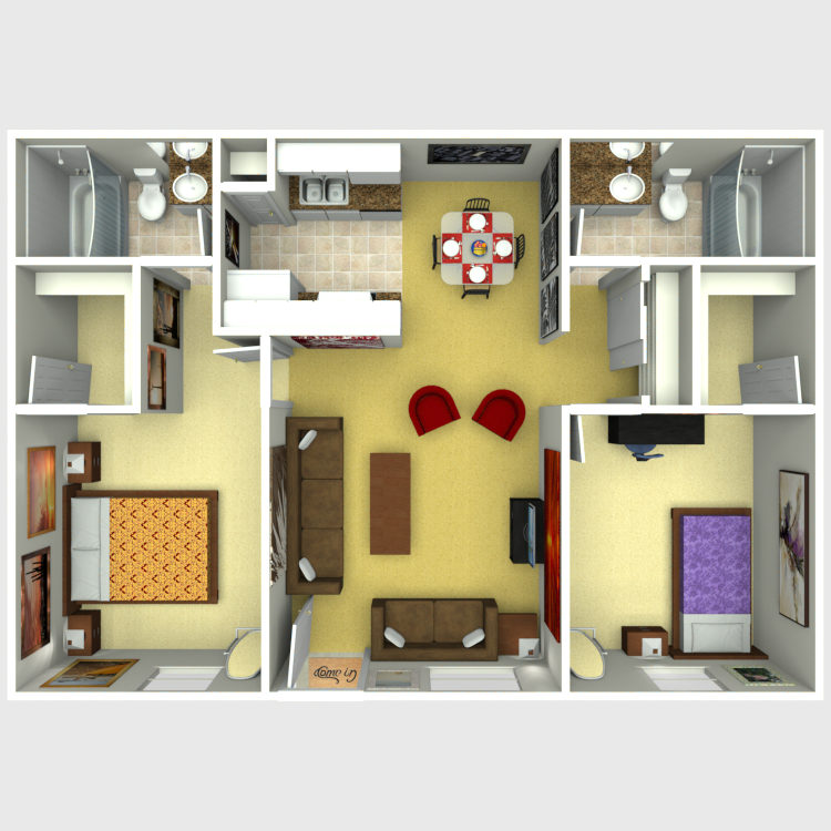 Floor plan image of Unit C - 2 Bed 2 Bath