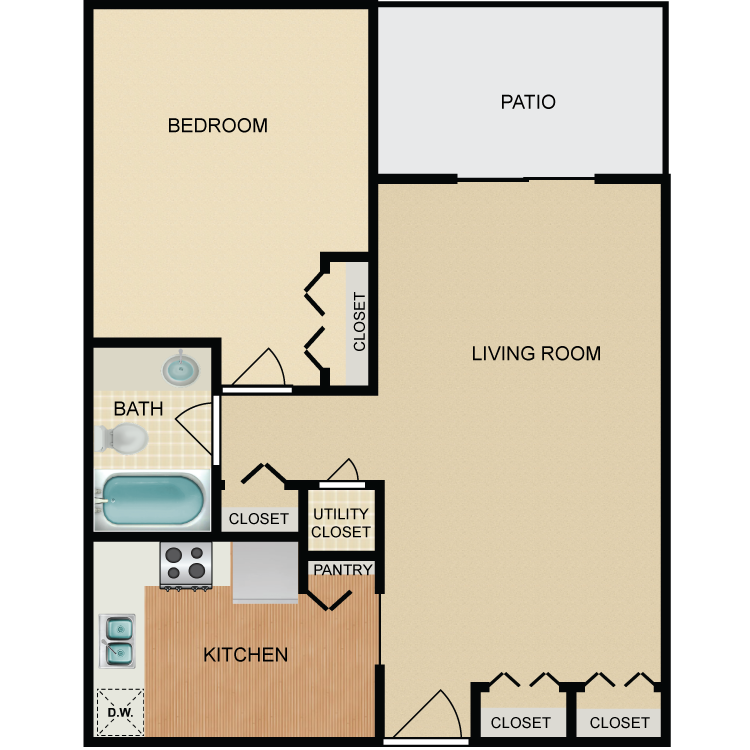 Floor plan image of Canyon 1 Bed