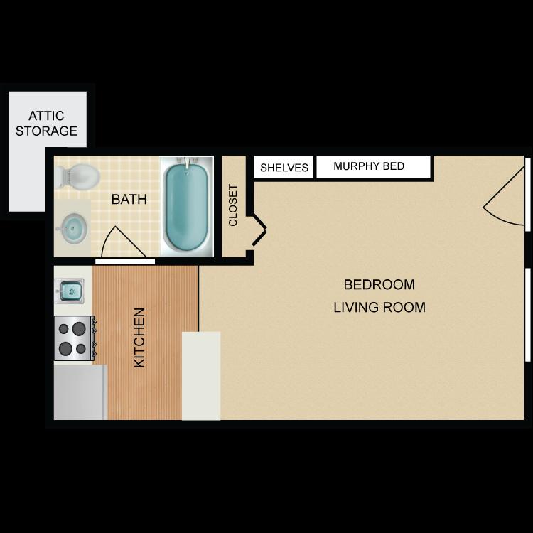 Floor plan image of Knox Landing Studio