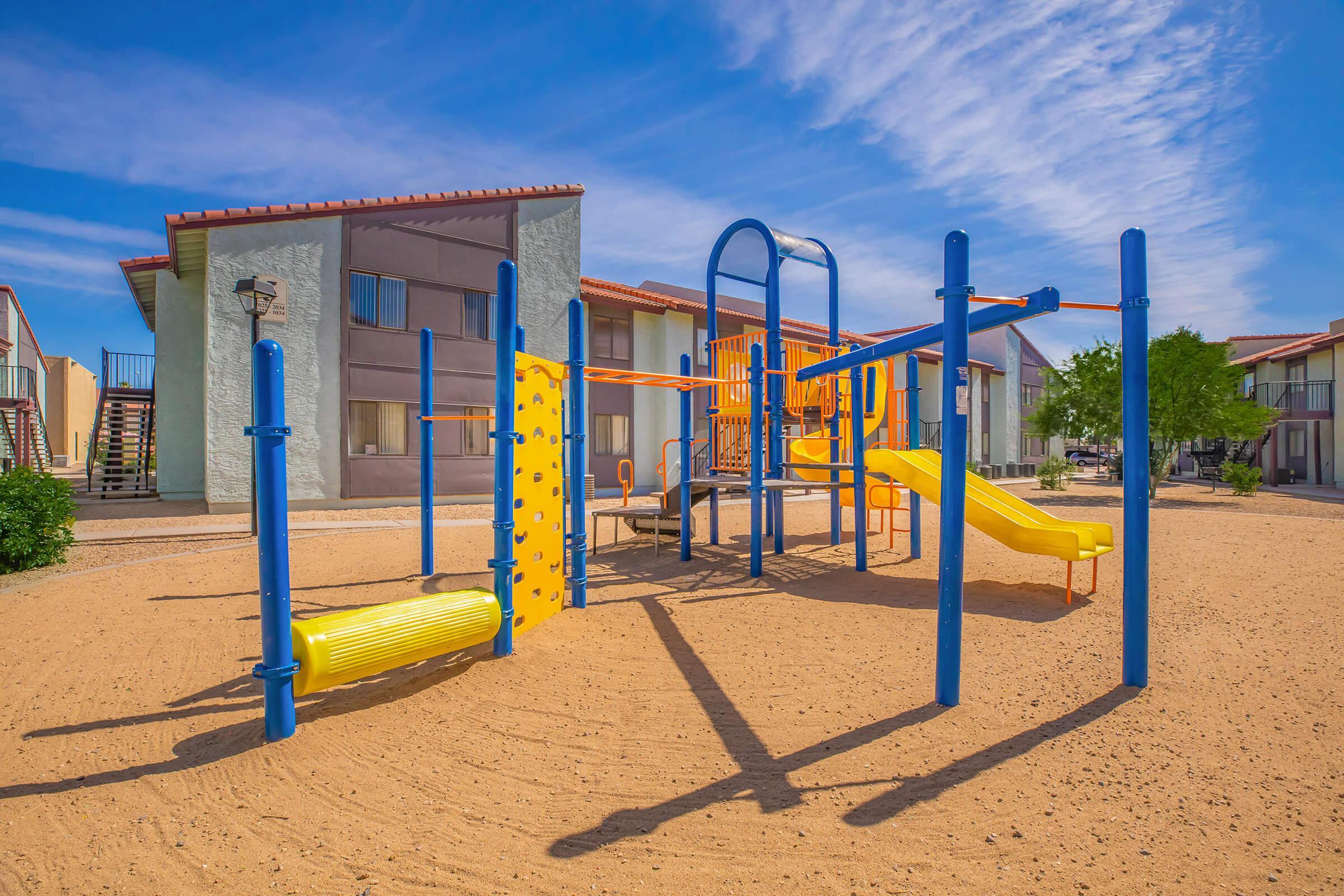 a playground at a beach
