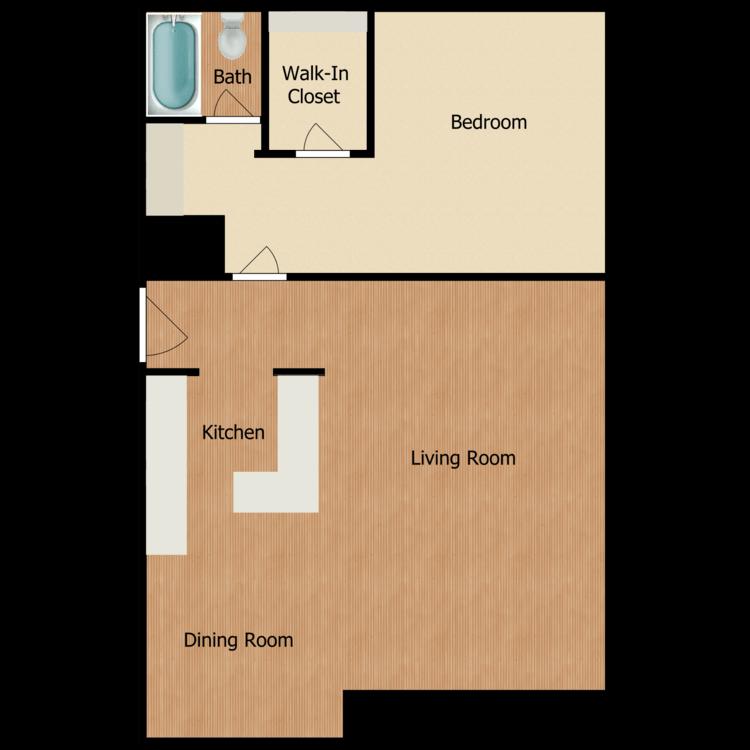 Floor plan image of One Bedroom One Bath