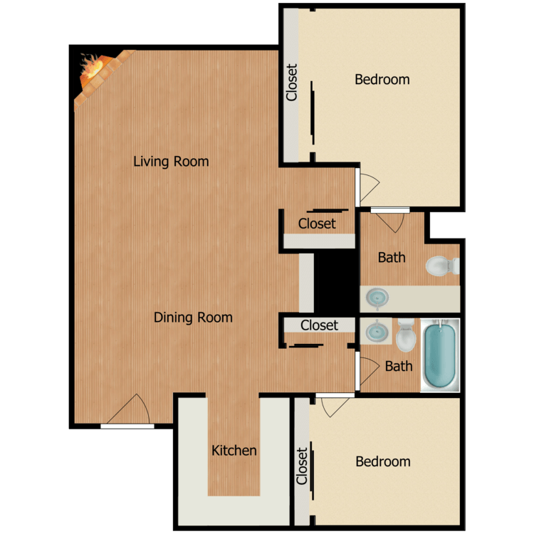 Floor plan image of Two Bedroom One and Three Quarters Bath