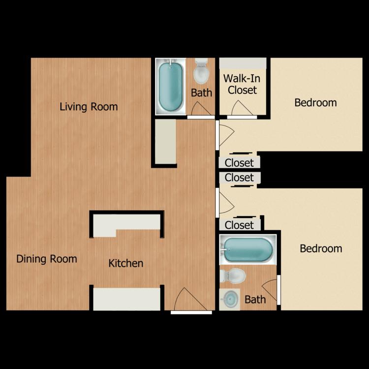 Floor plan image of Two Bedroom Two Bath