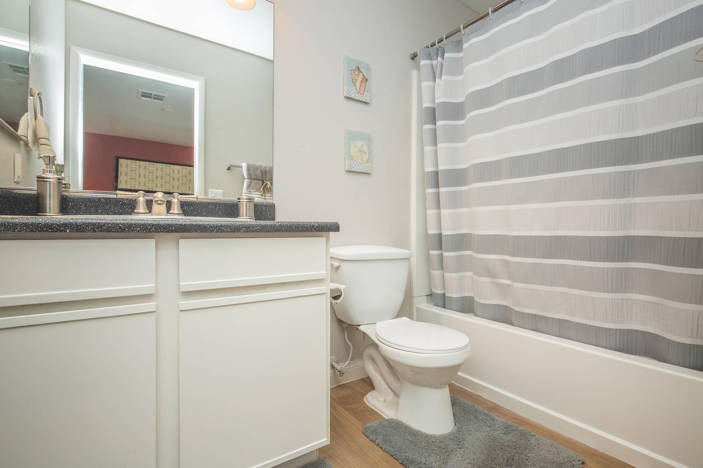 Sleek Bathroom here at Siena Townhomes