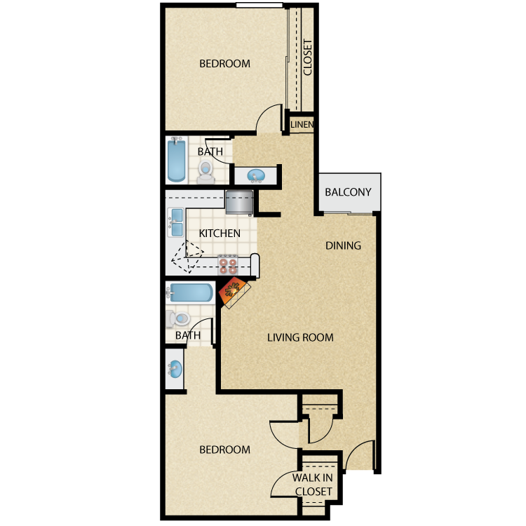 Floor plan image of Plan B 2 Bed 2 Bath