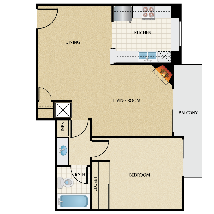 Floor plan image of Plan D 1 Bed 1 Bath
