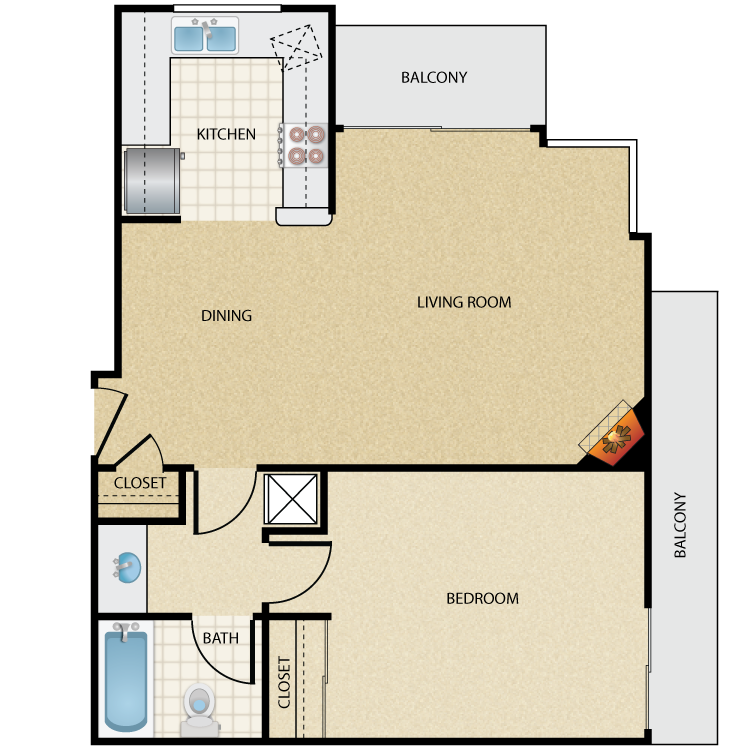 Floor plan image of Plan E 1 Bed 1 Bath