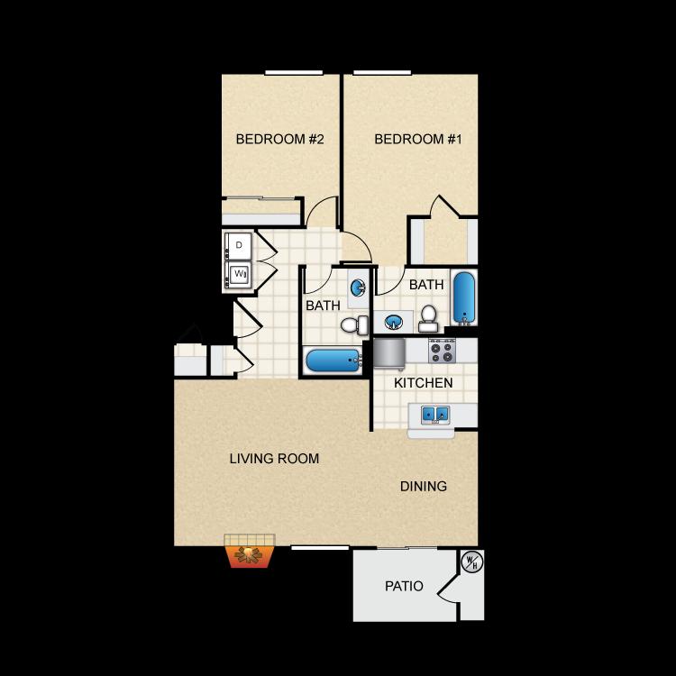 Floor plan image of 2 Bed 2 Bath B2